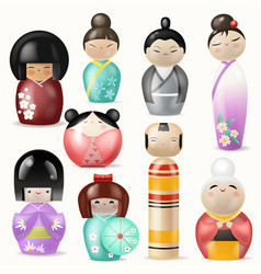 japanese kokeshi dolls beautiful girl woman vector image