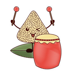 kawaii happy rice dumpling with drum and vector image