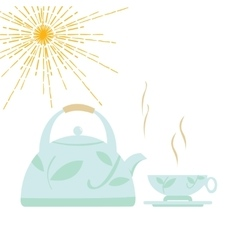 kettle with boiling water and a cup vector image