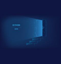 light from doorway steps to door vector image