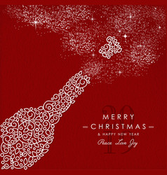 merry christmas happy new year outline bottle deco vector image