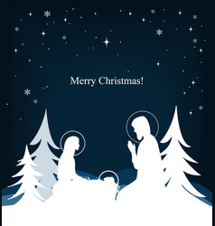 Nativity scene mary jesus and joseph silhouettes vector