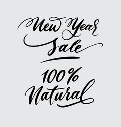 new year sale and natural handwriting calligraphy vector image