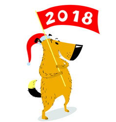 new years dog character with banner cute pet vector image
