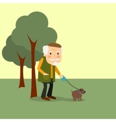 Old man with dog in park vector