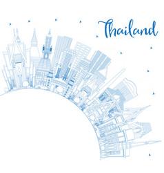 Outline thailand city skyline with blue buildings vector