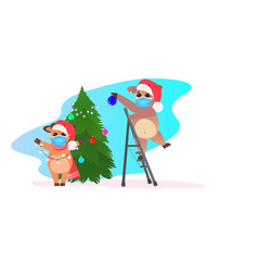oxes in santa hat decorating christmas tree cows vector image