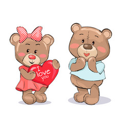 pair of soft fluffy teddies holds heart with text vector image