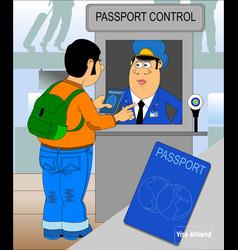passport control vector image