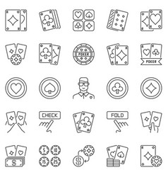 poker outline icons set - texas holdem vector image