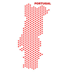 portugal map - mosaic of lovely hearts vector image