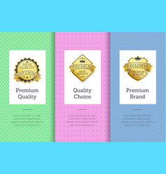 premium quality choice brand set poster with label vector image