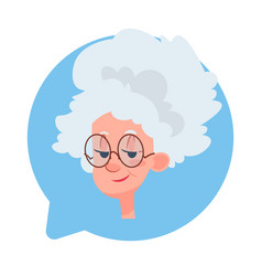 profile icon senior female head in chat bubble vector image