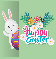 rabbit and egg happy easter vector image