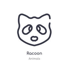 Racoon outline icon isolated line from animals vector