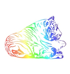 Rainbow tiger vector