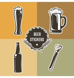 Retro set with beer elements for logo design vector image