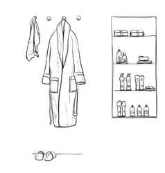 Robe for the shower bathrobe doodle style vector