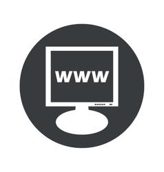 Round WWW monitor icon vector