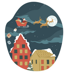 santa claus riding flying sleigh giving presents vector image