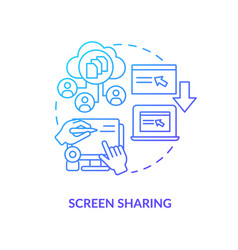 Screen sharing blue gradient concept icon vector