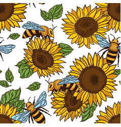 Seamless pattern with bees black and yellow vector
