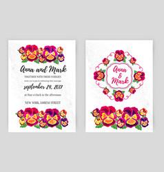 set floral wedding invitations design vector image