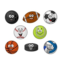 Set of cartoon sports equipment vector