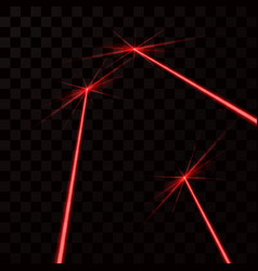 set of red laser beams red light ray isolated on vector image