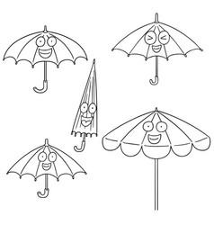 set of umbrella vector image