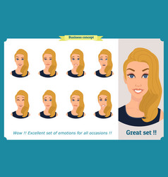 set of woman expression isolated businesswoman vector image