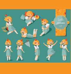 Set with lovely little cute girl hand drawn vector