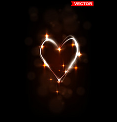 Shiny glowing heart with lights on dark background vector