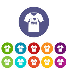shirt with print icons set flat vector image