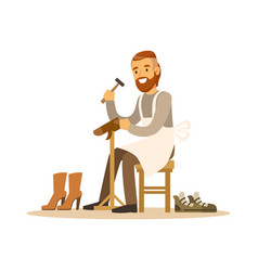 Shoemaker mending a shoe in workshop colorful vector