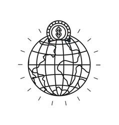 Silhouette money box in globe earth world shape vector