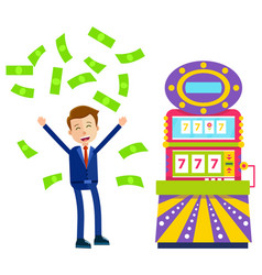 Slot machine and happy gambler with money casino vector
