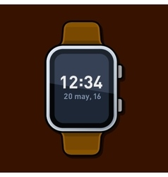 Smart Watch with Digital Time on Screen vector image
