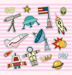 Space patch badges vector