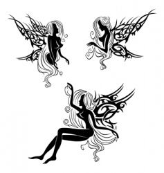 tattoo with fairies or elves vector image vector image