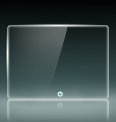Transparent glass screen with a button vector image
