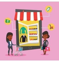 Two women doing shopping online vector