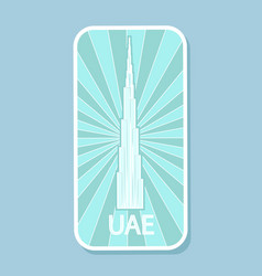 uae tallest building world isolated sticker vector image