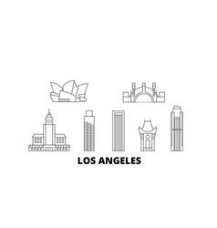 united states los angeles line travel skyline set vector image