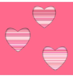 valentine card with striped hearts vector image