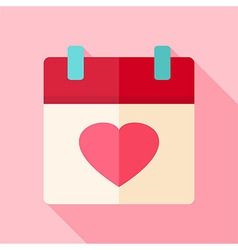 Valentine day holiday calendar with heart vector