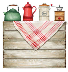watercolor rustic table with country tablecloth vector image