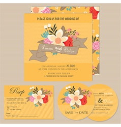 wedding invitation set with flowers vector image