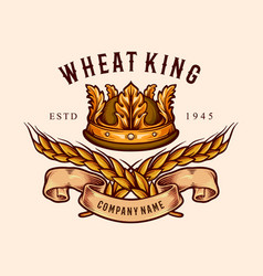 Wheat king crown badge vector
