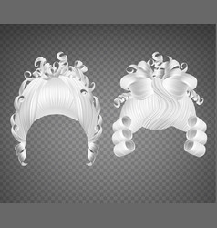White curly girl wig women princess hairstyle vector